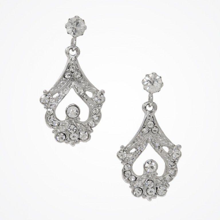 Short drop vintage style bridal earrings   Hayworth single drop earrings   Stephanie Browne