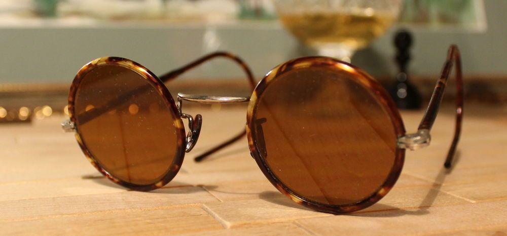 30s New WW2 USSR Teashades Bakelite Round Lens turtle Frame Sunglasses Steampunk