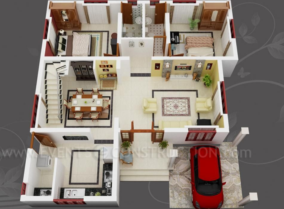Home design plans 3d hd wallpaper http www for 4 bedroom house designs 3d