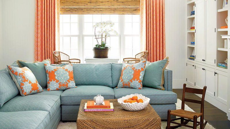 Living Room With Coral Reef Palette Turquoise Living Room Decor Coral Living Rooms Color Palette Interior Design #turquoise #and #coral #living #room