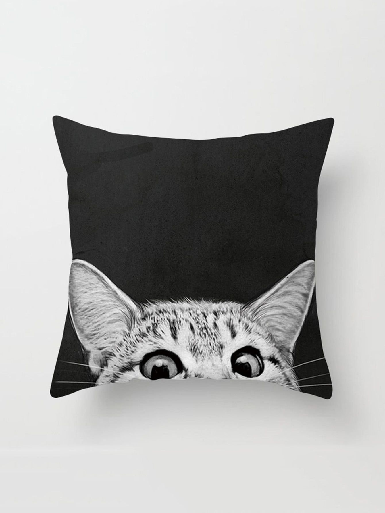 Cat Print Linen Pillowcase CoverFor Women-romwe  278f12b5c
