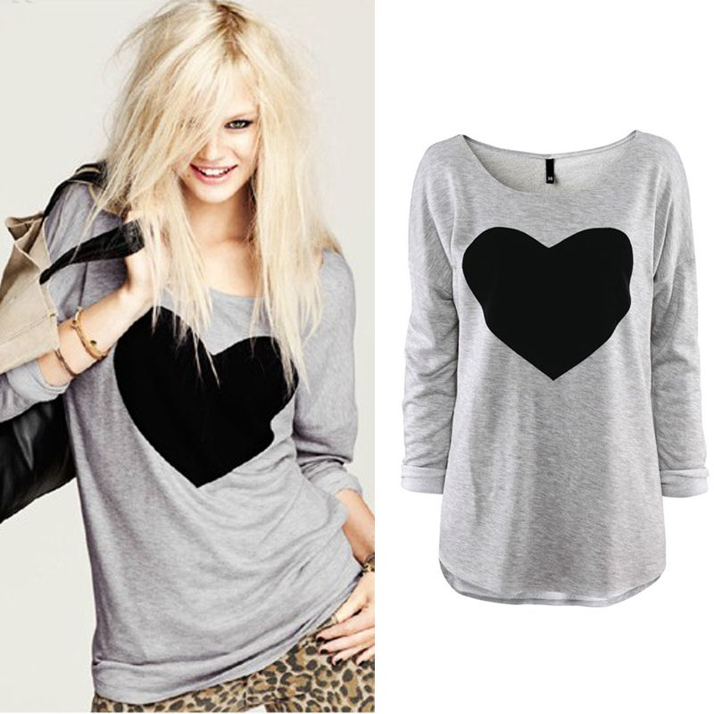 Fashion Women Love Heart Printed Round Neck Long Sleeve T Shirt Tops Shirt Tees | eBay