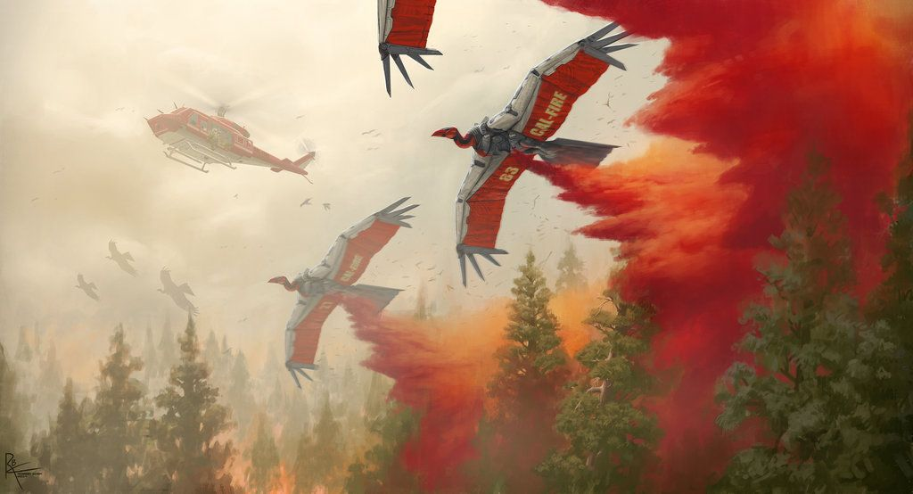 Robot animals by Robert Chew - Vultures spraying