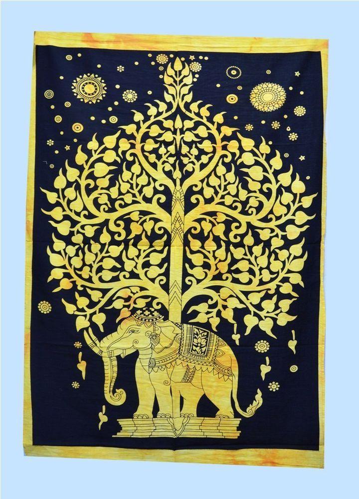 Indian Elephant Mandala Poster Indian Wall Hanging Cotton Home Decor ...