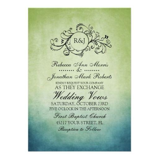 Rustic Green and Blue Bohemian Wedding Invitation