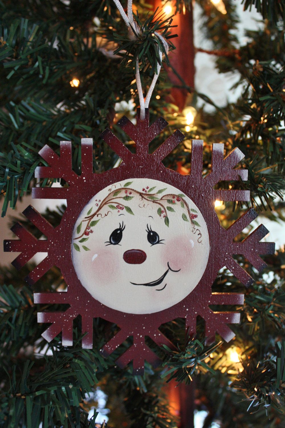 Snowman face ornament - Hand Painted Snowflake Wood Ornament With Snowman Face