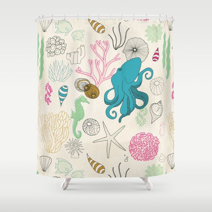 I Need The Sea And Needs Me Shower Curtain Society6 Coralreef
