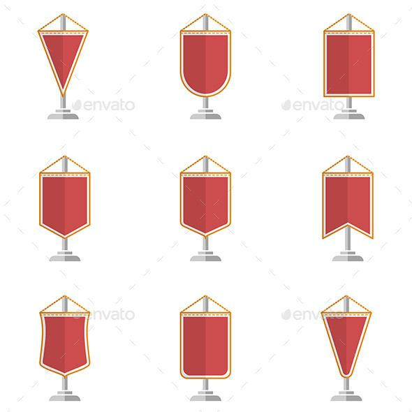 Red Pennants Backgrounds, Set of and Vector icons