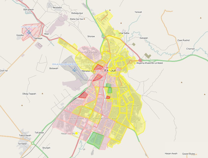 Ethnographic map of Kirkuk city districts by