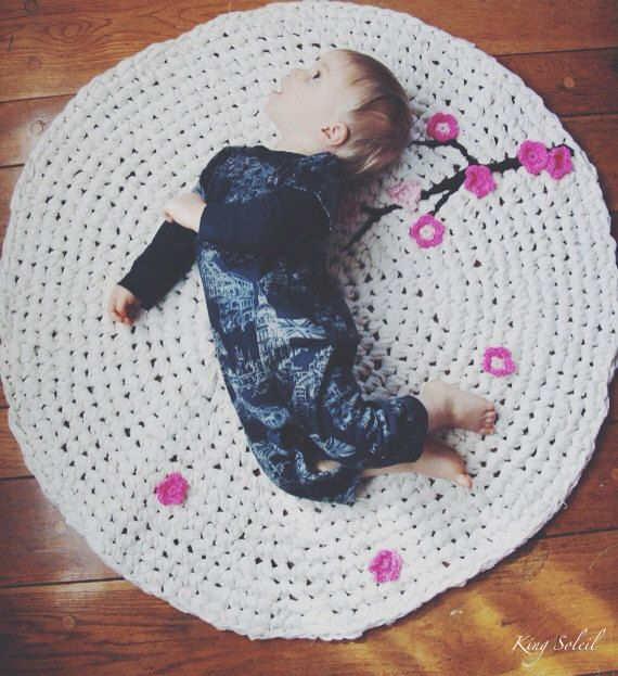 Crochet Rug Cherry Tree White Cotton with Pink by KingSoleil, $180.00