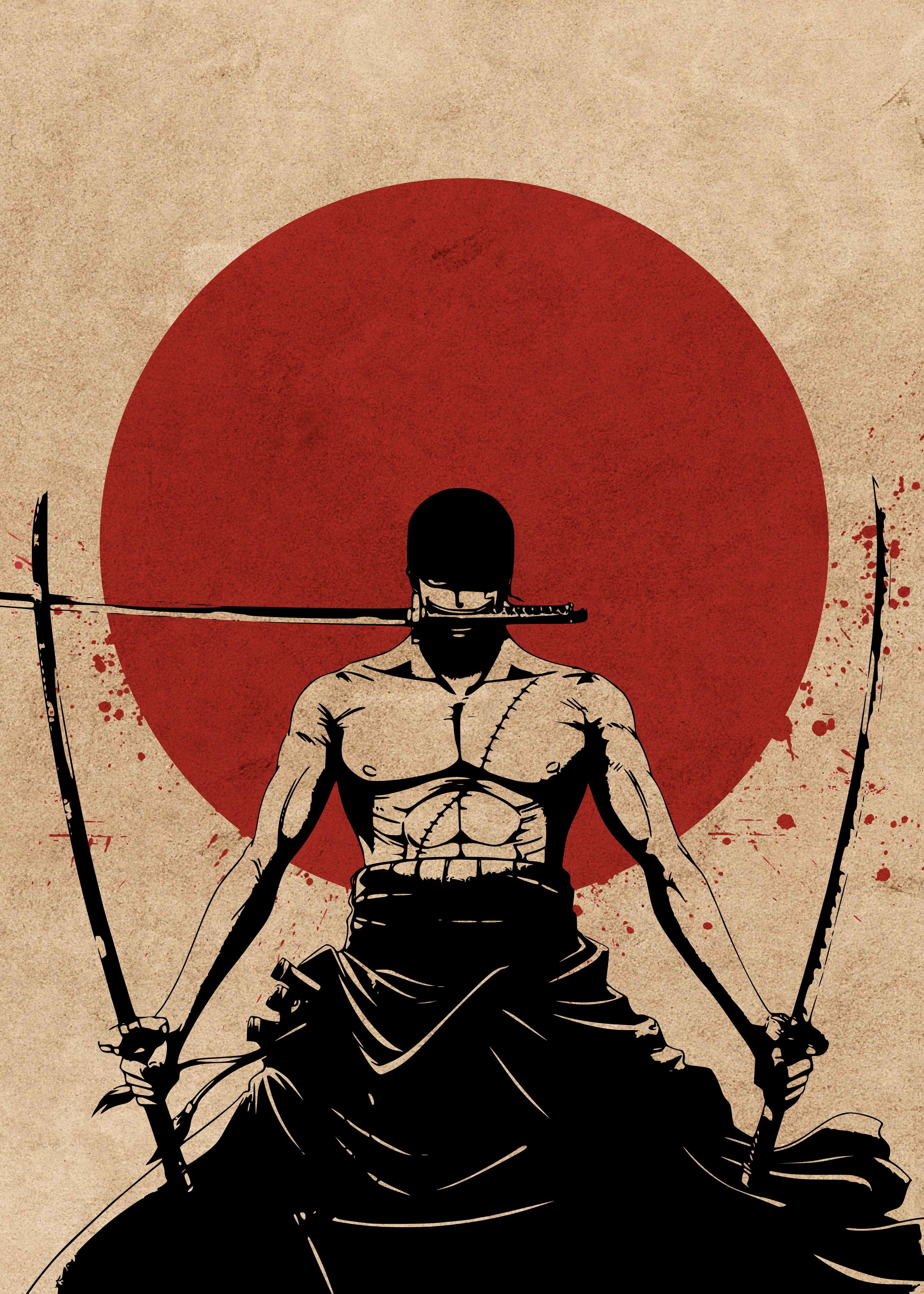 Roronoa Zoro One Piece Samurai Dessin Fond D Ecran Dessin Illustrations Animees
