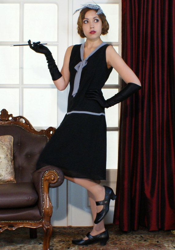 1920s Downton Abbey Inspired Clothing | Black flapper dress, Roaring ...
