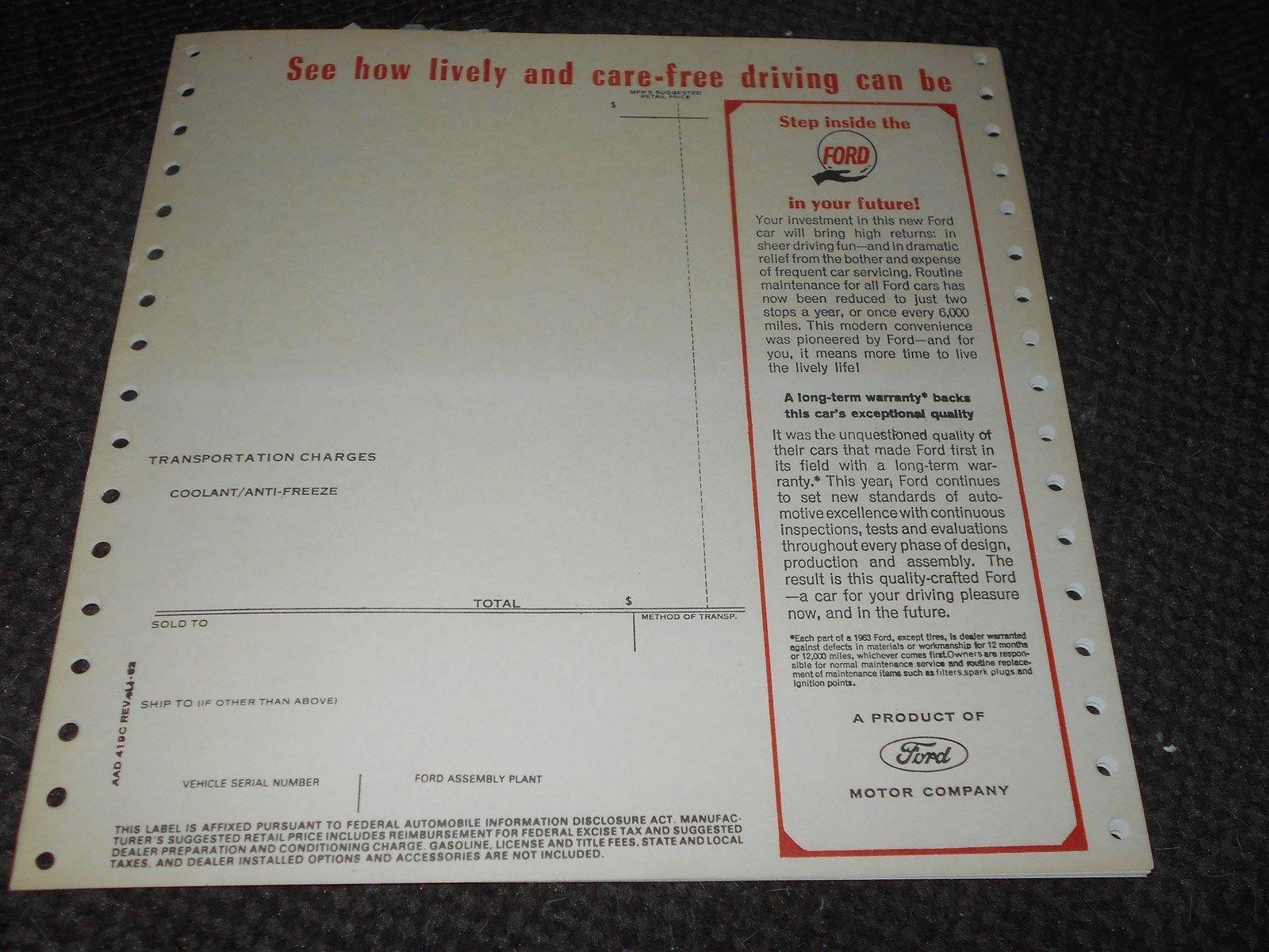 1962 Ford Blank Original Window Sticker Galaxie Ford Galaxie Ford