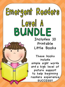 Level A Emergent Reader Bundle- Leveled Readers for Kindergarten Guided Readi…