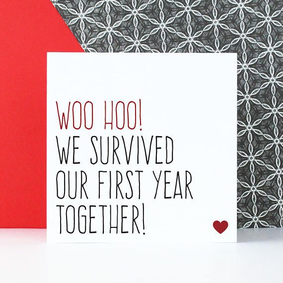 First Anniversary Card, Funny 1 Year Anniversary Card