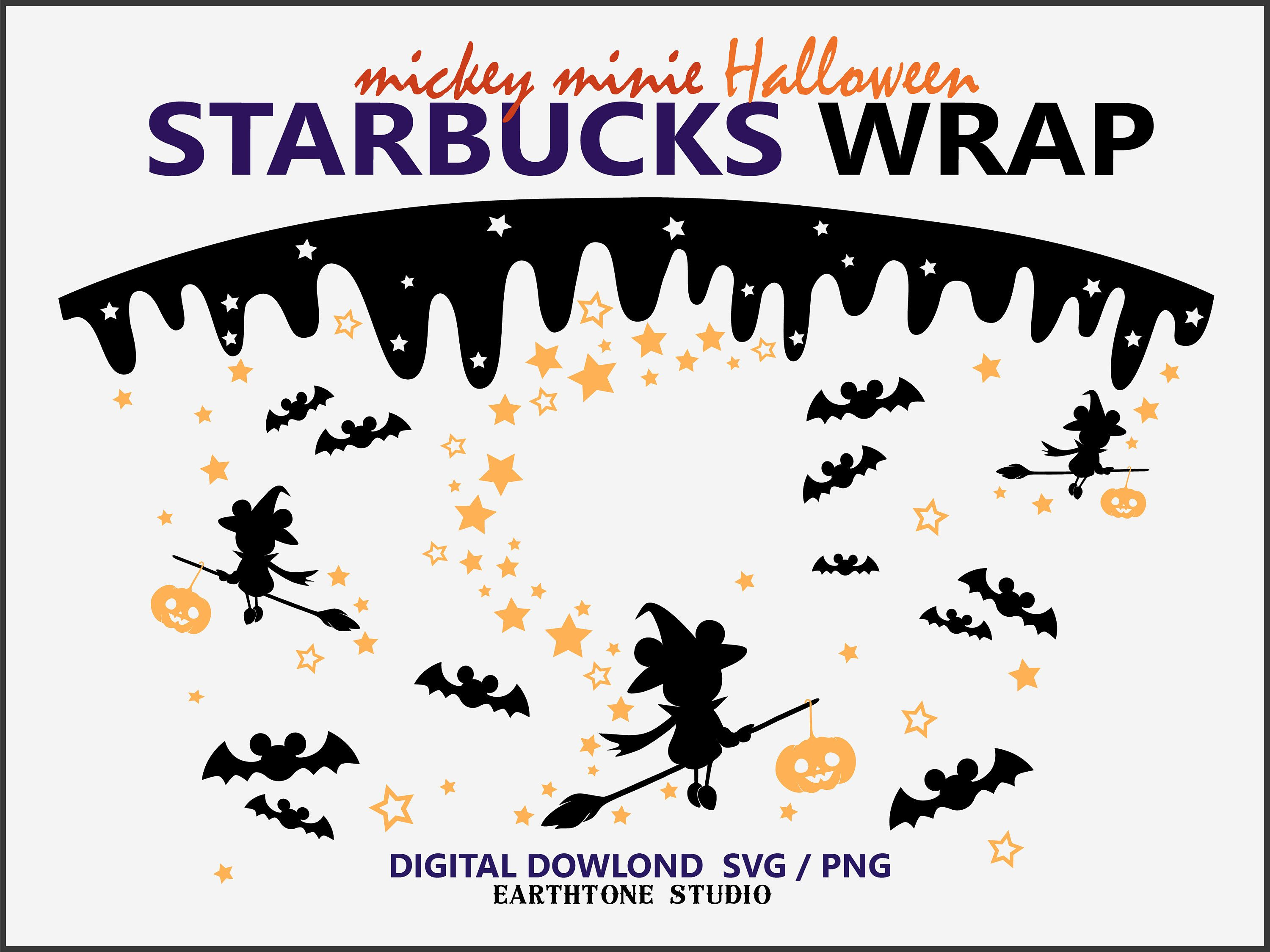 Starbucks is jumping on the wildly popular coloring book trend with its new holiday cups. Bat and Witch Halloween Full wrap for Starbucks cold cup 24 | Etsy in 2021 | Coffee themed cards ...