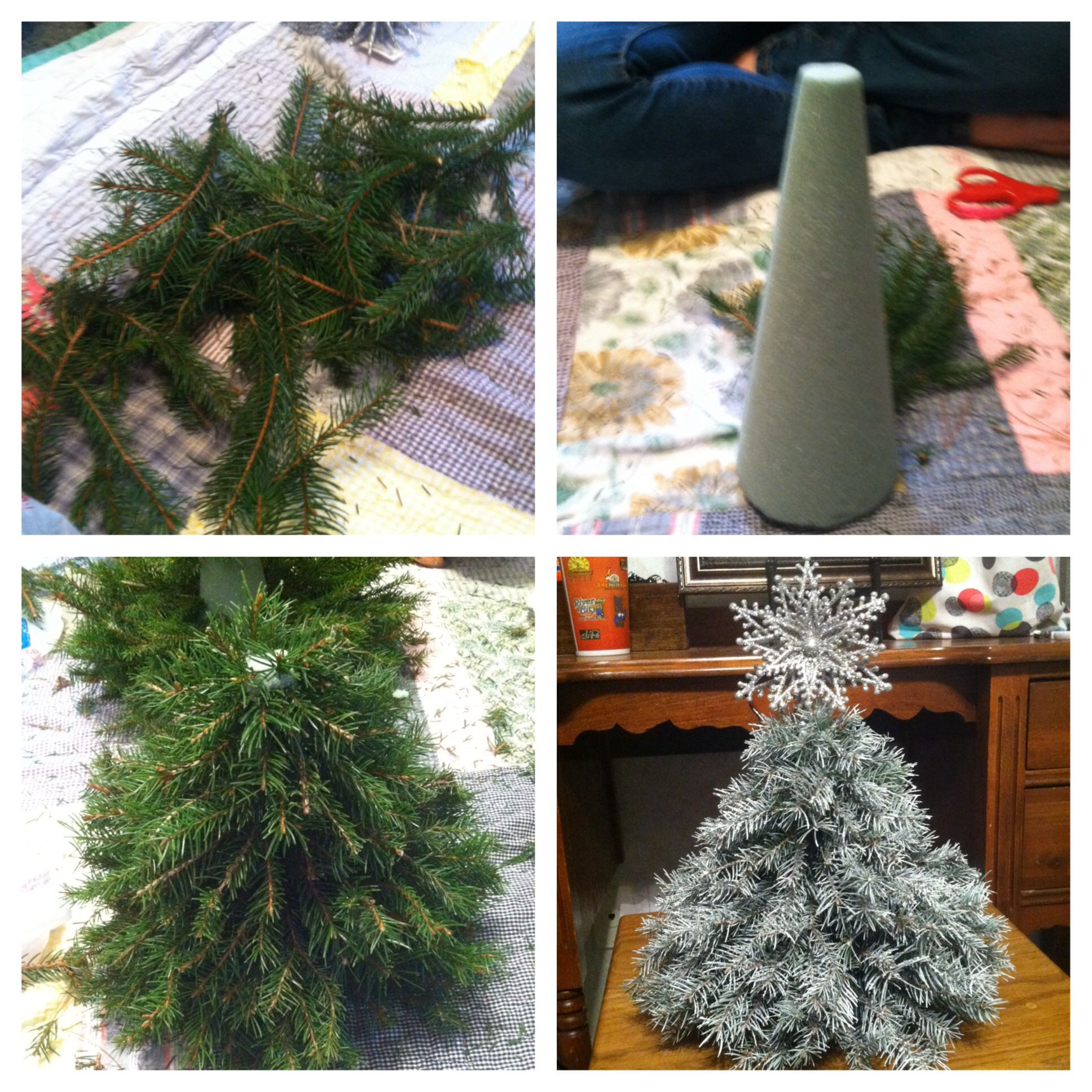 How To Make Your Own Little Christmas Tree Pine Branches Floral Cone White Spray Paint Silver Gl Christmas Cones Little Christmas Trees Christmas Centerpieces