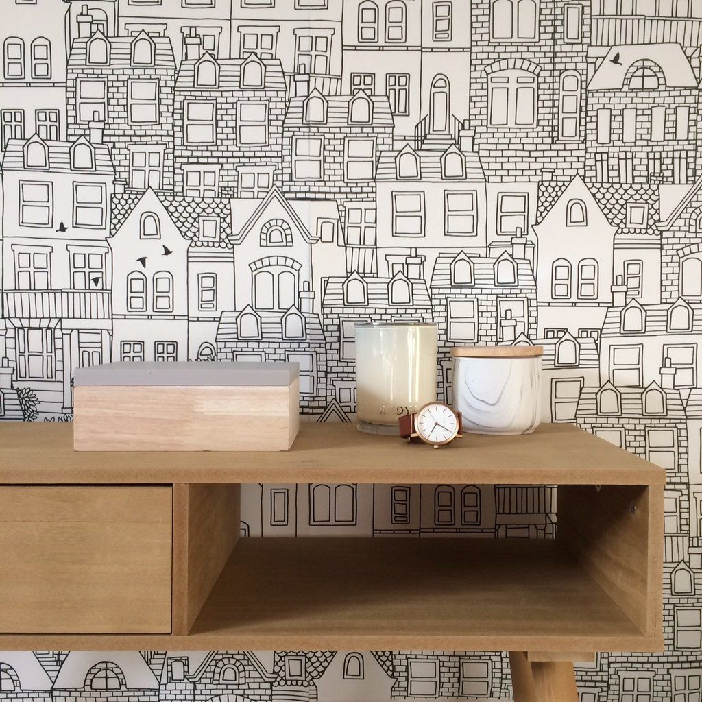 Scandi Town Removable Wallpaper In 2020 Removable Wallpaper Scandi Wallpaper Kitchen Wallpaper