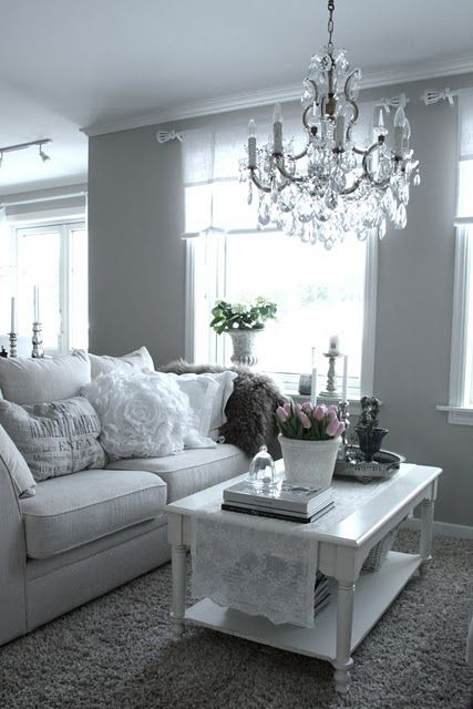 I have fallen in love with grey walls, chandelier, and white lace ...