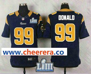 Men s Los Angeles Rams  99 Aaron Donald Navy Blue 2019 Super Bowl LIII Patch  Team Color NFL Nike Elite Jersey 2e075ece9