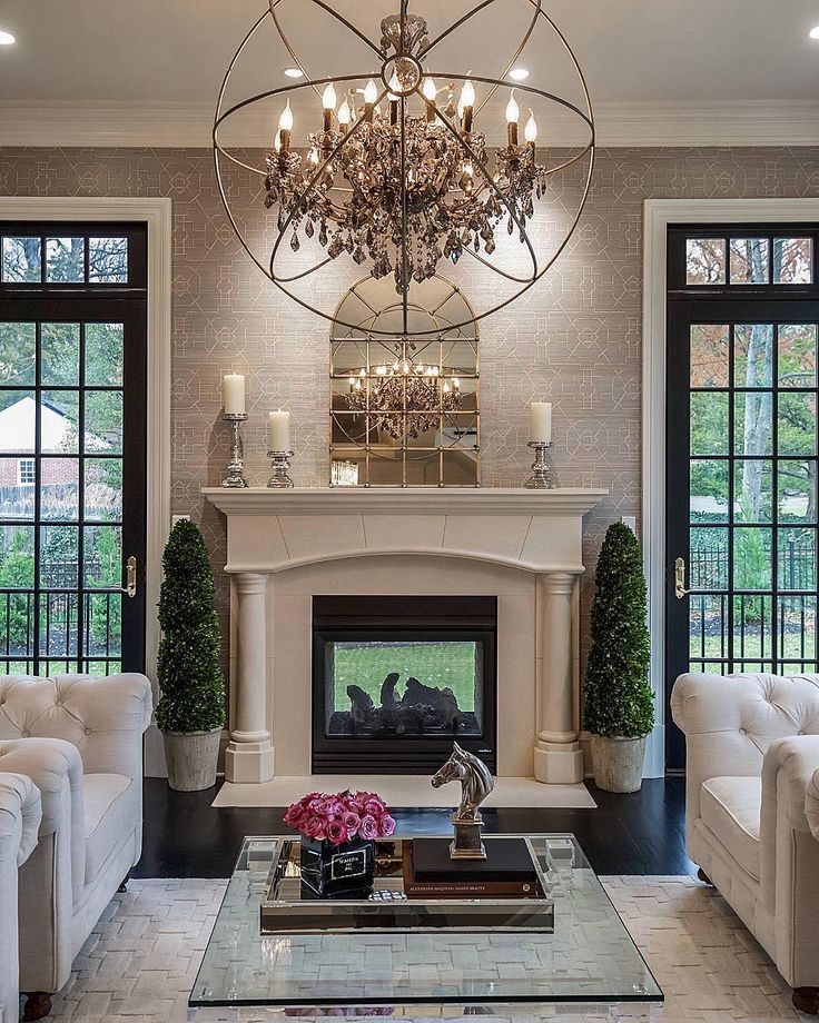 10 Beautiful Living Rooms For Holiday Entertaining Chandelier In Living Room Beautiful Living Rooms Living Room With Fireplace