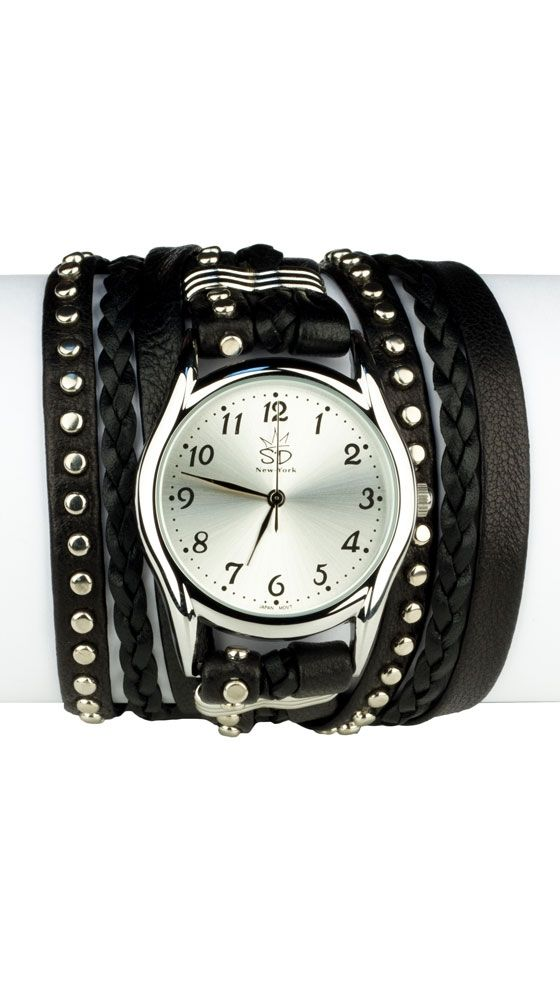 Studded Leather Wrap Watch at cricket clothing co