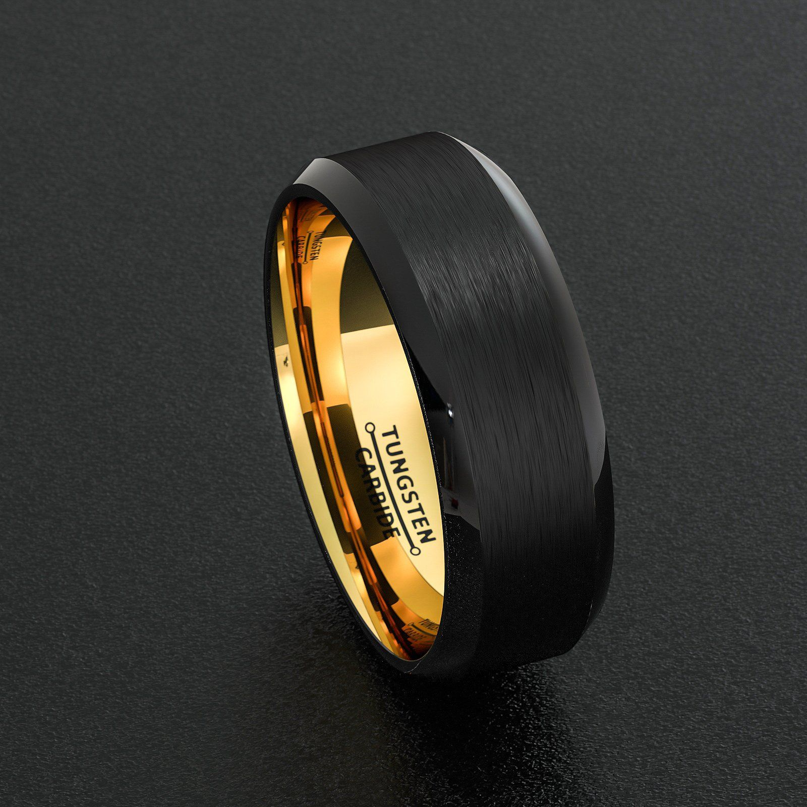Mens Wedding Band Two Tone Black Gold Tungsten Ring