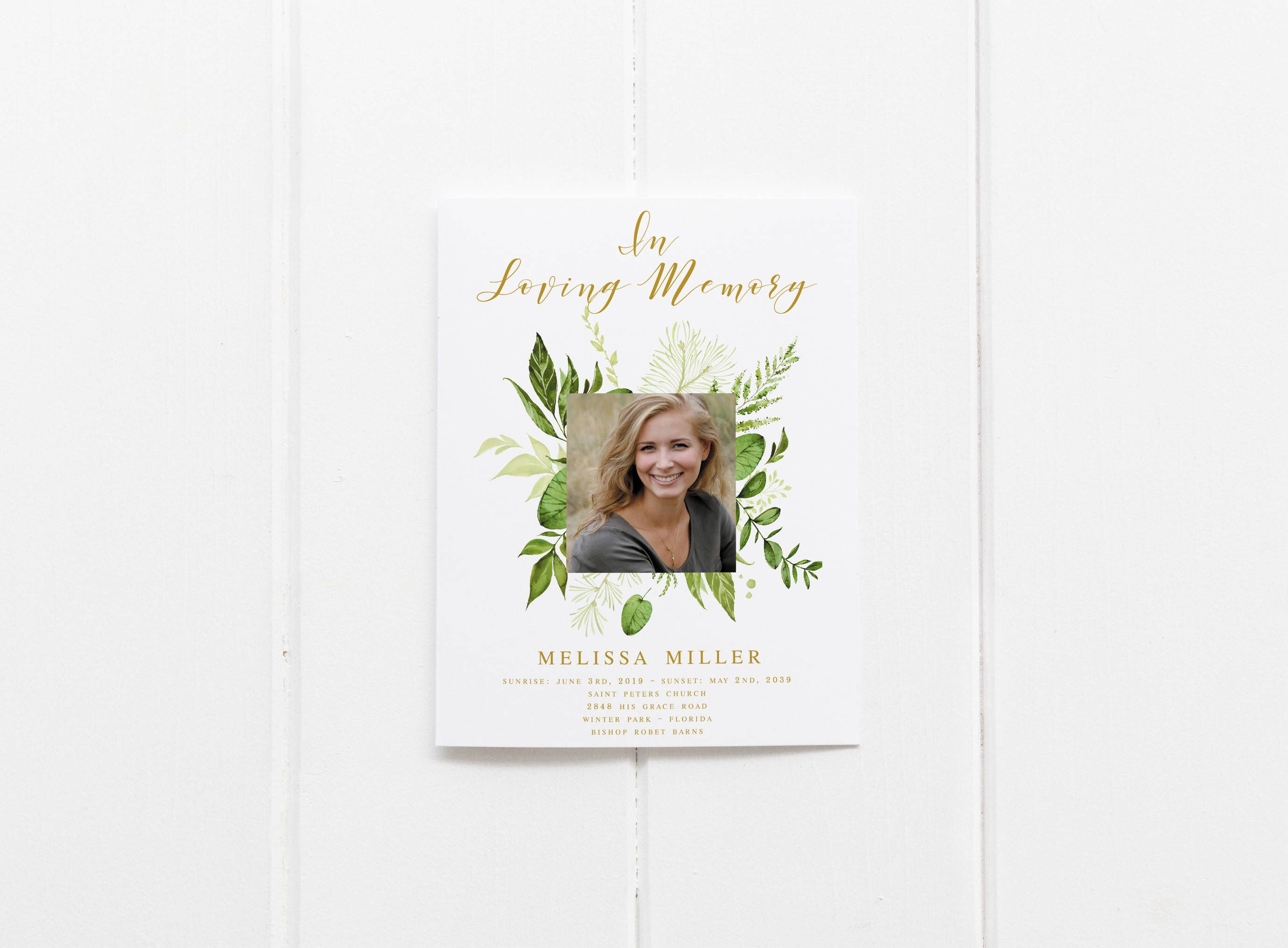 Floral Greenery Funeral Program Template Obituary Template Order