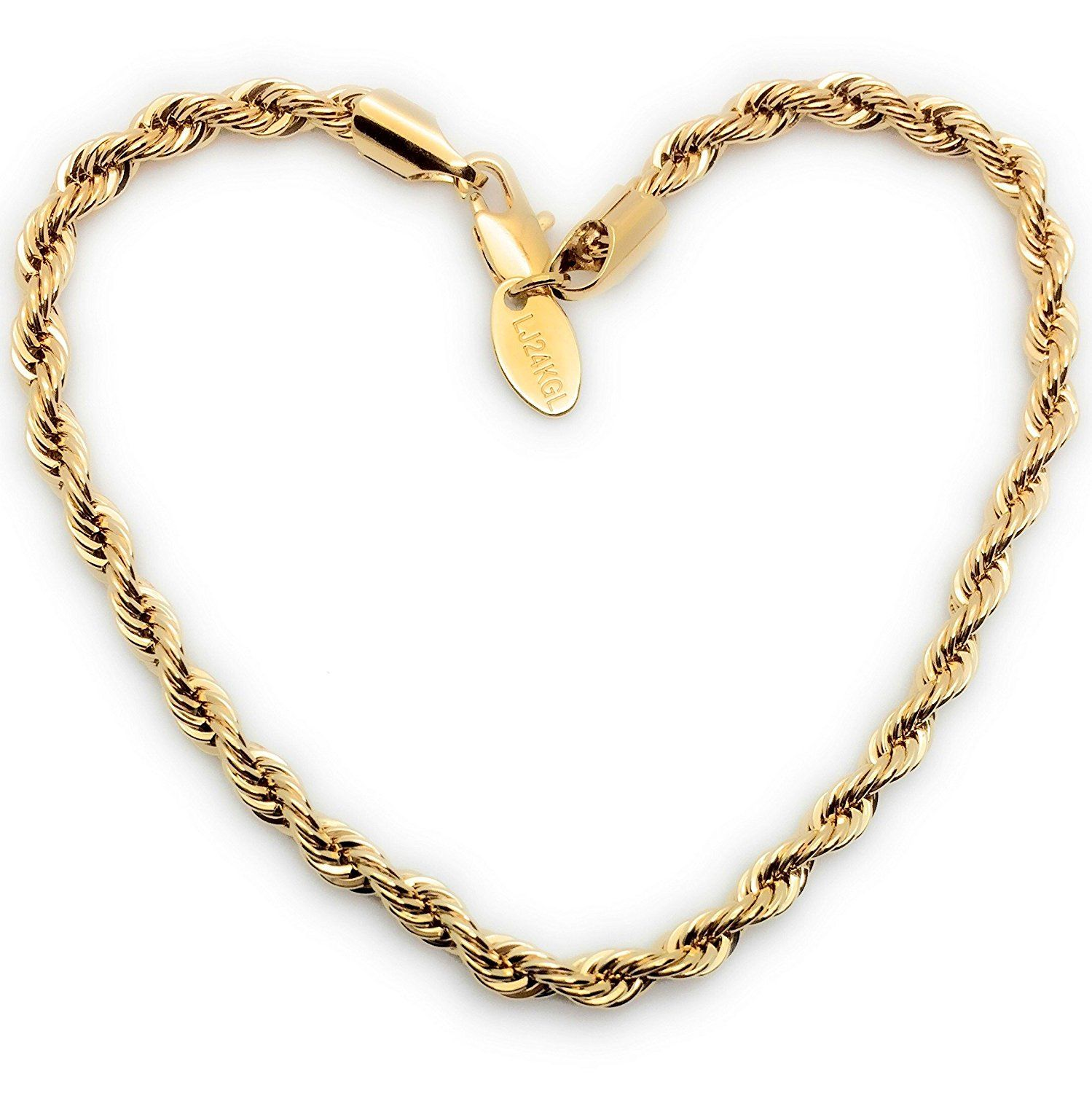 Lifetime jewelry rope bracelet mm round k gold with inlaid