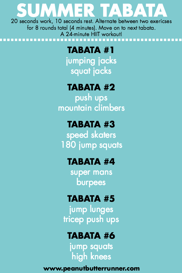 Summer Tabata Workout - a bodyweight tabata workout that can be done at home in under 30 minutes! #t...