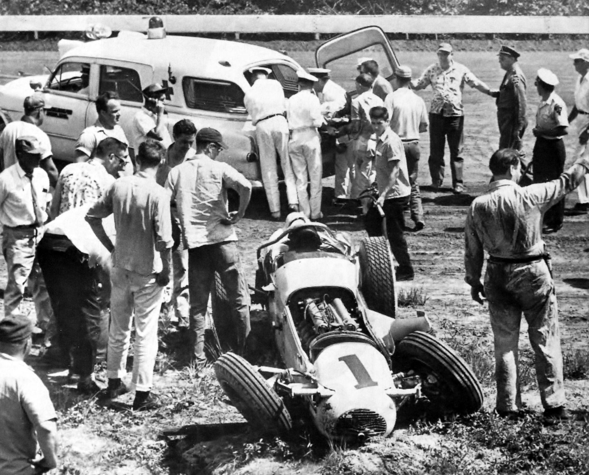 Jimmy Bryant's fatal crash at Langhorne. Old race cars