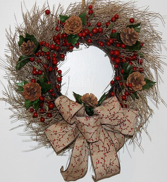 red berries pinecones twig christmas wreath rustic christmas wreath small christmas door wreath - Small Christmas Wreaths