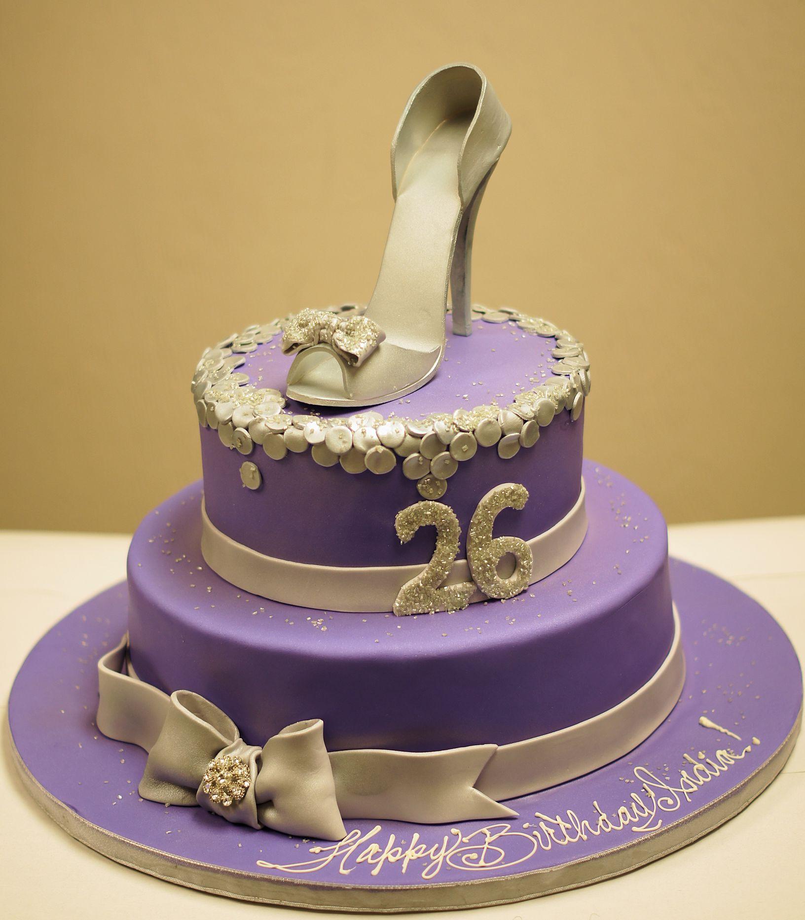 Purple Silver Diva Cake with edible shoe Birthday Cakes