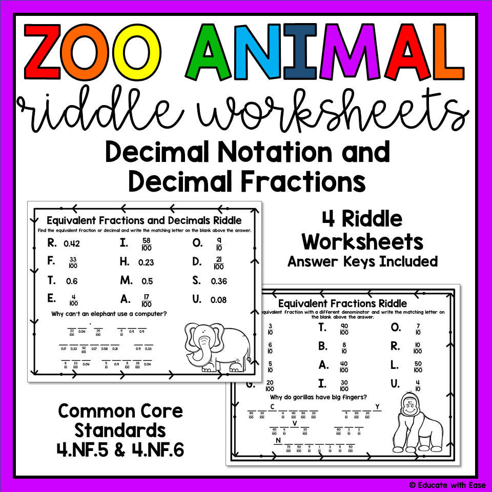 small resolution of Decimal Notation and Decimal Fractions 4.NF.5 \u0026 4.NF.6 Riddle Worksheets    Fractions