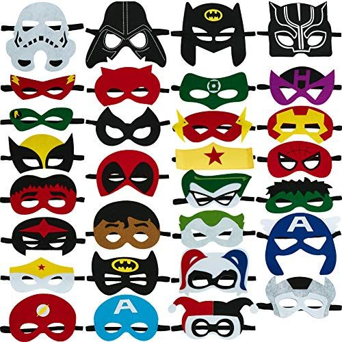 30pcs Superhero Masks for Kids Halloween CostumesFelt Mask Superheroes Birthday Christmas