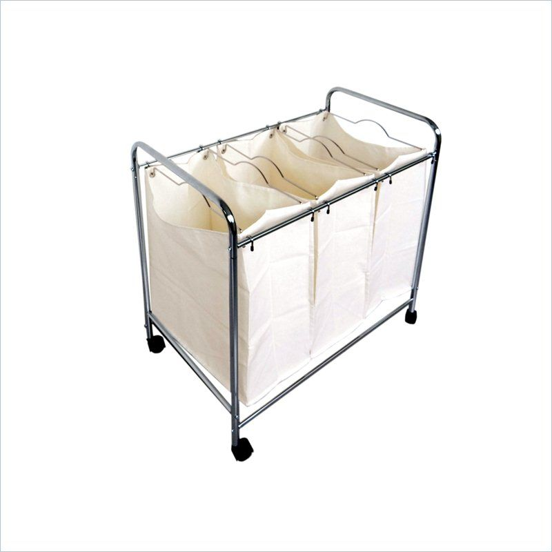 Proman Laundry Basket Trolley With 3 Compartments Zs16733