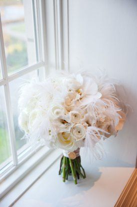 Great Gatsby Inspired Wedding Bride Bouquet White Rose Feathers
