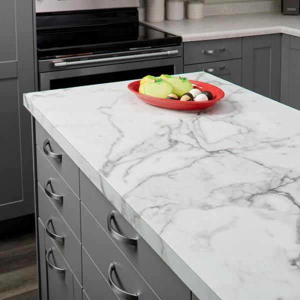 FORMICA 5 ft. x 12 ft. Laminate Sheet in 180fx Calacatta Marble with Etchings Finish-034601246512000 - The Home Depot