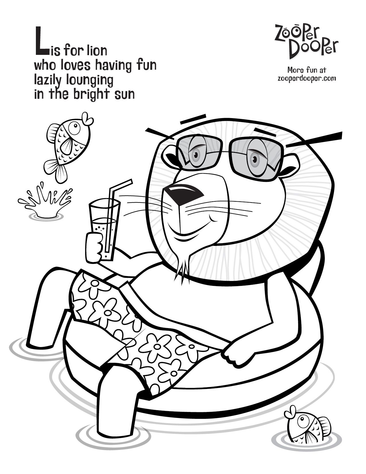 Free Zooper Dooper Colouring Sheets For Kids Lions