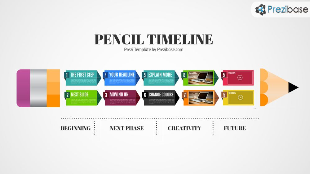 Prezi Template With A Pencil Shape Formed From Colorful