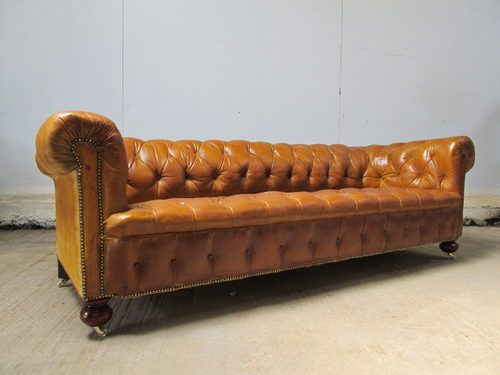 Charmant Antique Large Victorian Leather Chesterfield Sofa   Antiques Atlas
