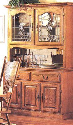 Oak China Cabinet Hutch Buffet W 2 Drawers