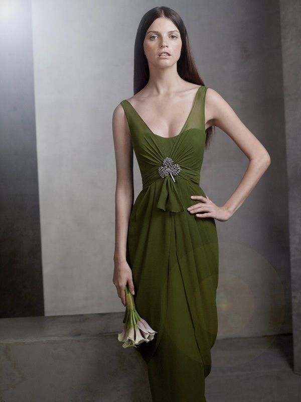43591da69d1c From Vera Wang's White Collection: 2012 bridesmaid dress olive green draped  long, full gown. | OneWed.com
