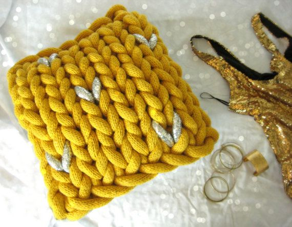 CHUNKY KNITTED CUSHION Giant Yellow Knit by TheMonstersLounge, $95.00