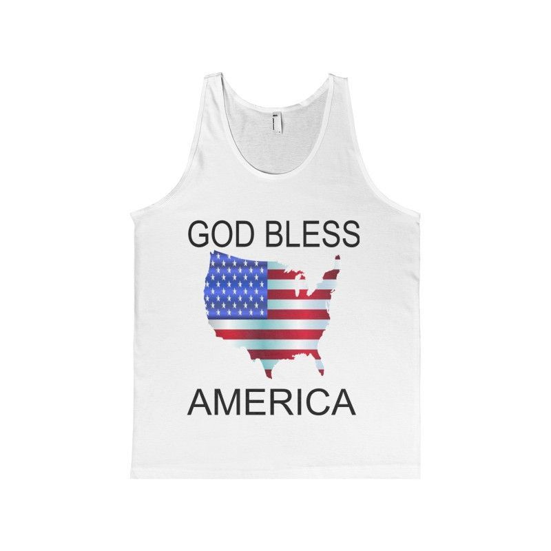 GOD BLESS AMERICA ON AMERICAN APPAREL Unisex Fine Jersey Tank