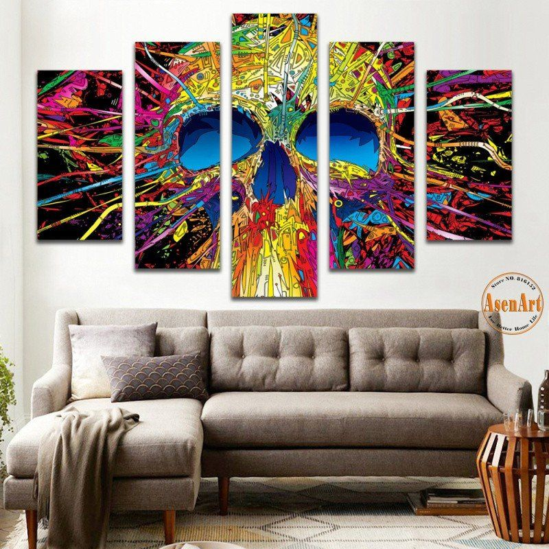 panel wall art canvas prints colorful skull paintings pictures for living room modern home also rh pinterest