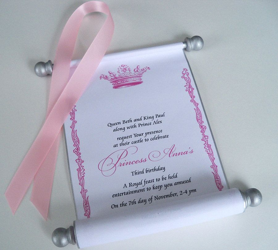 This in Baby Blue Royal birthday party scroll invitation for