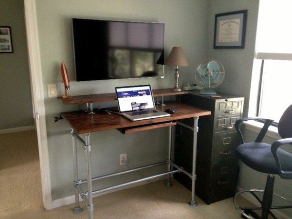 Can Still Sit As It Has A Footrest But Would Need To Buy A Different Chair With Images Diy Standing Desk Home Office Furniture Standing Desk