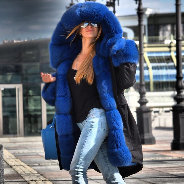 Big blue fur lined parka | PARKA | Pinterest | Fur, Fur fashion ...