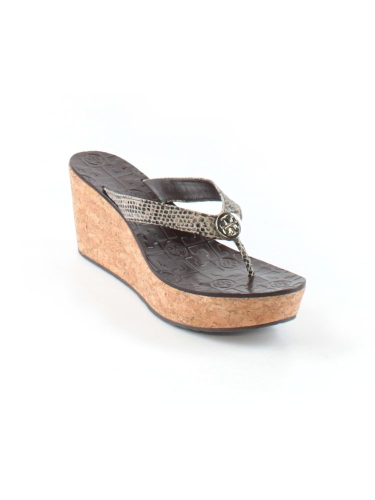 01789cdf7d7af Women Tory Burch Thora Snake Skin Cork Wedge Thong Sandal Shoe Size   M LN   ToryBurch  PlatformsWedges